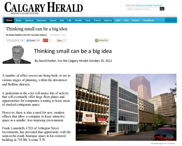 Frank Lonardelli Calgary Herald October 25, 2012 Calgary Commercial Real Estate