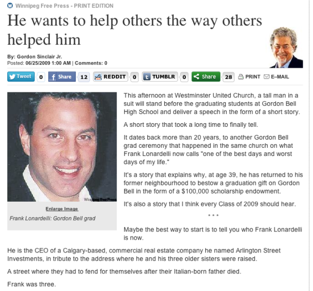 Frank Lonardelli in the Winnipeg Free Press, June 25, 2009